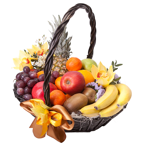 """""""Яркий вкус"""". Корзина фруктов с ананасом"""